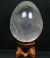 NATURAL SMOKY/ CLEAR QUARTZ CRYSTAL Sphere Egg HEALING From Madagascar /Stand