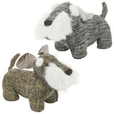 Dog Door Stop Filled Fabric Woven Pattern Decorative Heavy Weight Wedge Stopper