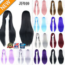 80cm Long Colors Straight Women Girl Anime Cosplay Wavy Hair Wig Halloween JF010