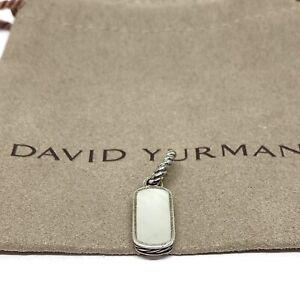 David Yurman Mini Dog Tag Necklace Pendant Mother of Pearl 25x9MM