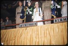 Beautiful Australia Costume Girl with US Marines Vintage 1950s Slide Photo USMC