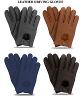 Men's Classic Driving Gloves Genuine Real Soft Lambskin Leather Mesh Gloves New