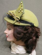 Vintage 1950's 100% Wool Newmann Endler, Inc. Hat with Brim, Netting Olive Green