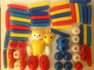 60 Tomy Popoids Bendy Construction set with Heads Bodies wheels Stretchy Parts