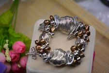One Natural chocolate pearl Baroque Tibetan silver bracelet ONLY ONE AS PICTURE