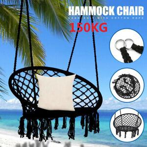 Hanging HAMMOCK Rope Swing Chair Macrame Hammock Seat Outdoor Indoor Garden HOT