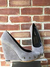 Cafe Noir Gray Suede Suede Wedge Pumps Heels 38 7 * RARE!
