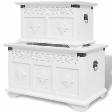 vidaXL Two Piece Storage Chest Box Cabinet Bench Table Set Home Furniture White
