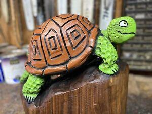 Chainsaw Carved TURTLE Black Walnut Wood Tortoise Sculpture ORIGINAL Folk Art