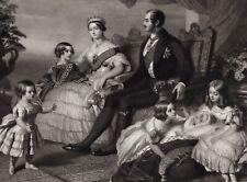QUEEN VICTORIA  Prince ALBERT & 4 Kids engraving JOHN SARTAIN sc Winterhalter pr