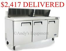 """Atosa 72"""" inch 6 foot wide Sandwich Salad Prep Table Free lift gate delivery Nsf"""