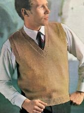 MS005 KNITTING PATTERN MENS SLIPOVER SLEEVELESS SWEATER in DK or 4 PLY YARN