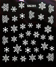 Nail Art 3D Decal Stickers Glittery White Snowflakes SN107