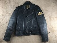 Vintage Unik Double Rider Leather Jacket 48 Black Harley Patches Biker Buckle