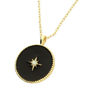 """Yellow Gold Plated on Silver Black Finish Disc Synthetic Opal Pendant 17"""" Chain"""