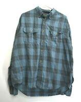 Eddie Bauer Men's XL Long Sleeve Casual Plaid Button Down Shirt Blue