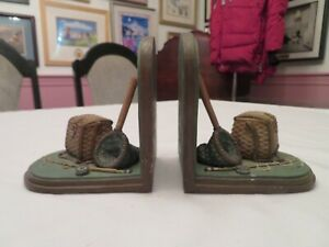 Fly Fishing Book Ends Rod & Reel Creel Net Trout Artisan Flair