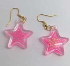 Barbie Pink Large Star Holo Glitter Earrings E150 kitsch 5.2cm Long Gold