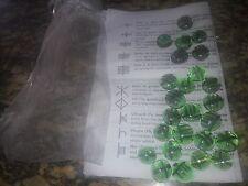 BEAUTIFUL HANDMADE GREEN GLASS CELTIC PAGAN RUNE STONE SET W INSTRUCTIONS & BAG
