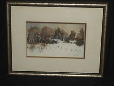 J Conlon winter snow trees fence landscape watercolor painting from New Mexico