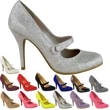 WOMENS LADIES COURT SHOES PARTY MID HIGH HEELS STILETTOS T BAR SMART WORK SIZE