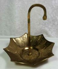 Brass Umbrella Figurine Ring Holder Trinket Dish Paperweight Rustic As Is