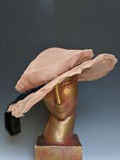 Antique Hat 1910s Edwardian Era Pink Sheer Organza Wide Brim Hat Velvet Ties