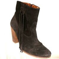 Howsty Black Suede Ankle Boots Size 6.5 US 37 EU Womens Fringe Anthropologie