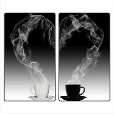 Ceranfeldabdeckung Herdabdeckplatten Spritzschutz Glas Kaffee 2x30x52 cm