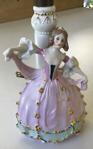 VINTAGE GERMAN PORCELAIN FIGURINE LAMP BASE LADY IN PINK