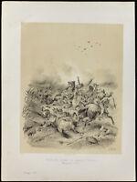 Lithographie de 1859: Bataille de Morgarten : Suisse et Autriche (Victor Adam)