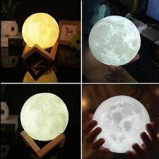 3D Moon Lamp LED Night Light Moonlight Gift Touch Sensor Changing With Holder