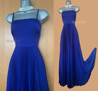 KAREN MILLEN UK 10 Blue Pleated Strapless Straps Maxi Long Gown Party Dress EU38