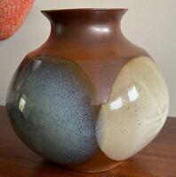 Bulbous Vintage Pottery Craft Ceramic Stoneware Vase Vessel Mid Century Modern
