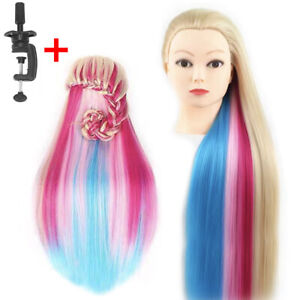 "26"" Human Hair Practice Training Head Hairdressing Mannequin Doll with Clamp AU"