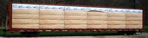 """N SCALE:""""Atkikokin v.1"""" wrapped lumber load: RED CABOOSE & MTL centerbeam CAR"""