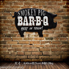 BAR BQ BBQ metal tin signs Smokey Pig Retro HandmadE Poster Home Wall Decor