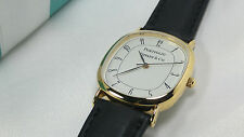 Tiffany & Co. Portfolio Watch Mens Wristwatch Leather Band Gold Electroplated