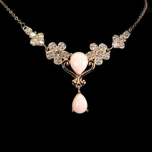 Unheated Pear Pink Opal 9x7mm Cz Rose Gold Plate 925 Sterling Silver Necklace