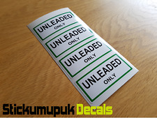 4 x UNLEADED ONLY Stickers Labels  Petrol Gasoline For Classic or Race Car