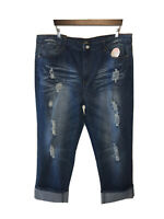 L & B Lucky & Blessed Size 24 NWT Cropped Distressed Medium Wash Jeans