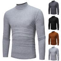 Mens High Collar Turtle Neck T Shirt Tops Long Sleeve Elastic Jumper Sweater Tee