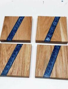 oak resin coasters, handmade, homemade blue epoxy resin 12cm x 12cm
