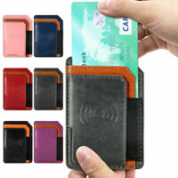 Leather Adhesive Phone Wallet Card Holder for Back of Smart Phone iPhone Samsung