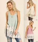S-2X Umgee USA Embroidered Lace Sleeveless Long Tunic Tank Top Boho Hippie Gypsy