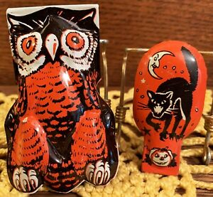 2 Vintage Halloween Litho Tin Clicker Noisemakers, US Metal Toy, 1950s, WORKING!