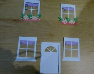 Dolls House accessories windows curtains window boxes and door die cuts