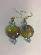 NWOT Handmade Pierced Earring Green Light Blue Gold Venetian Glass with Acrylic