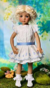 "33cm Boneka White Dress Blue Embroidered Drop Waist 4 13"" Effner Little Darling"