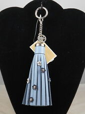 Michael Kors Pale Blue CHARMS LEATHER Flower Tassel Key Fob Handbag Bag Charm